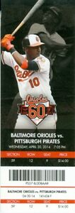 2014 Orioles vs Astros Ticket: Nelson Cruz, Adam Jones & George Springer (#2) HR