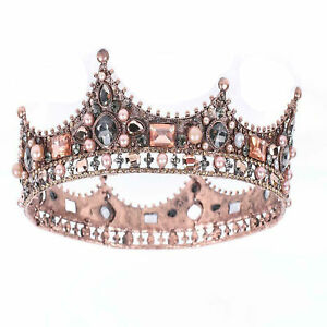 Jeweled Baroque Queen Crown Rhinestone Wedding Crown and Tiaras for Women Bridal
