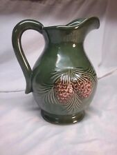 Vtg Forest Green Lrg Pine Cone Lemonade Pitcher Cabin Decor Northwoods