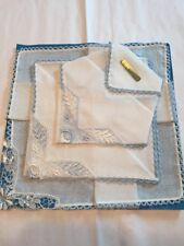 Vtg 50s Hanky Handkerchief Set 3 Ice Blue Trim Nos Pinned To Paper W/German Tag