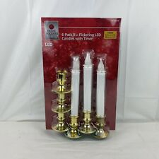 Home Accents Holiday 6-pack 9 In flickering LED Candles W Timer Gold Base