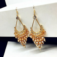 HUCHE Dangle Drop 18K Gold Filled Gemstone Rhinestone Women Lady Hook Earrings