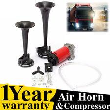 12V 178DB Dual Trumpet Air Horn Horns Super-loud For Truck RV Car Train black HP