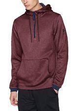 Under Armour Raisin Red Navy Trim 1/3 Zip Pullover Hoodie Men's Logo Size XL New