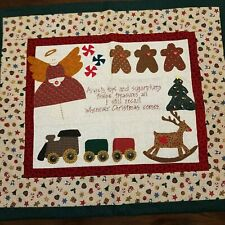 Quilted Christmas Wall Hanging Train Tree Gingerbread Man Angel