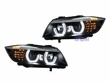For BMW E90 E91 3 Series 05-08 3D Angel Eyes Halo Projector Headlights Black LHD