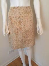 Prada Cream Beige Silk  Print Knee Length A Line Skirt SZ 44 Italy NWT Auth $635