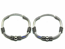 New Ladies Sterling Silver Bead Bali Creole Hoop Earrings 18mm x 22mm 925