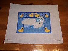 Hand Painted Needlepoint Canvas Boy Baby Shoes Yellow Ducks on Blue cute