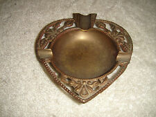 Vintage Brass Ashtray-Heart Shaped-Victorian Style-Small & Compact-Circular Cntr