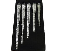 5 Eiszapfen aus Glas zum Hängen gefrostete Optik Weihnachten Christbaumschmuck