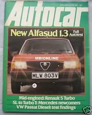 Autocar magazine 28 June 1980 featuring Renault 5 Turbo, Alfasud road test