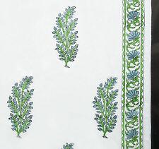 2½ Yards. Hand Printed Cotton. Green & Gray, Block Print Fabric. Sanganer India