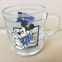 Vintage Mickey Mouse Mug Anchor Hocking USA Break Time Glass Coffee Cup Disney