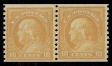 Us #497 10¢ orange yellow, Joint Line Pair, og, Nh, Vf, Scott $260.00