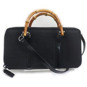 Gucci Hand Bag  Black Nylon 1410980