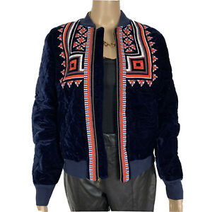 And / Or Navy Velvet Quilted Aztec Coral Embroidered Bomber Jacket Size 10