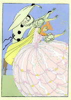 1930s French Pochoir Print Art Deco Harlequin Dancing W/ Princess Pink Dress