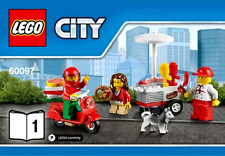 LEGO City Hot Dog Cart Pizza Scooter 3 Minifigures Train Station Idea 60097