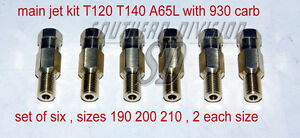 hauptdüsen mainjets T120 T140 A65L with 930 concentric carbs, set of 6 190-210