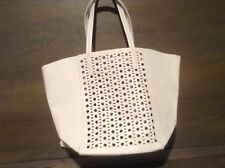 Womens IVORY FAUX Leather LARGE OPEN DESIGN  Handbag Purse Large NICE!