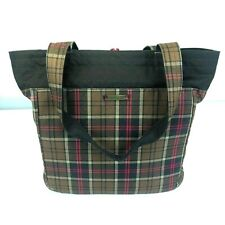 Merrell Colby Large Tote Bag Purse Plaid Brown & Pink w/ Laptop Sleeve Nice!