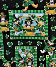 POT OF GOLD ST. PATRICKS DAY FUNNY CATS FABRIC   1 YD 5 INCHES