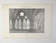 Lithographie Originale XIXème - Cloître St Nicaise à Reims - Courtin