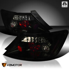 Glossy Black For 2006-2011 Honda Civic Coupe  2Dr Tail Lights Smoke Lens Lamps