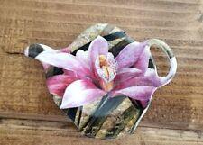 Ashdene Melamine Teapot Shape TEA BAG HOLDER Spoon Rest Purple Pink Orchid