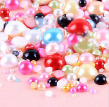 800 Pcs Mixed Colors Flatback Half Faux Pearls Beads DIY Crafts Nail Art