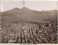 Italia Panorama Di Napoli Foto Giorgio Sommer Vintage Albumina c1875