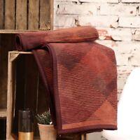 IBENA Brown/ Orange Argyle Jacquard Woven Cotton Blend Velour Throw Blanket Amol