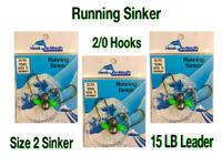 6 Running Sinker Flathead Fishing Rigs - 2/0 Octopus Hook Size 2 Sinker 15lb Rig