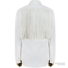 Stella McCartney White Textured Cotton Mesh Tassled Back Shirt Blouse IT42 UK10
