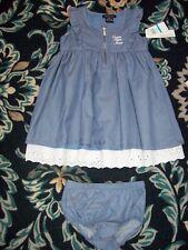 Calvin Klein Dress Girls Baby 24 Mos Eyelet Blue Zipper CKJ Diaper Cover New