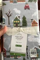 Pottery Barn Set 2 Winter Village King Gray Pillowcase Pair Flannel Christmas
