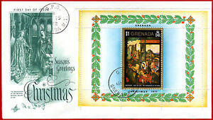 Grenada 1971 Christmas Noël, PAINTINGS, illustr.FDC  Mi Bl 20, Sc 438, SG MS 473