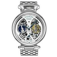 Stuhrling Men's 4003 Automatic 46mm Silver Watch Stainless Push Deployant Clasp