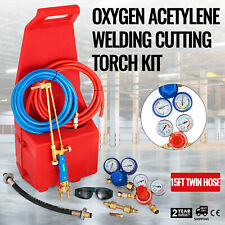 Gas Welding Cutting Kit Oxy Propan Oxygen Torch Brazing Fits 10 Hose Withred Tote