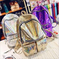 Holographic Hologram Laser Metallic Color Backpack School Shoulder Bag