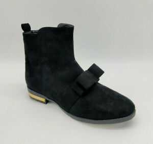 New Womens Suede Low Block Heel Ankle Boots Ladies Chelsea Bow Shoes Size UK 8