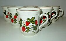 "Lot of 6 Gibson Design Strawberry Blossoms  3.5"" Coffee Tea Cups Mugs"