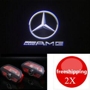 2Pcs LED AMG Logo Door Projector Light For Mercedes-Benz S Class 4doos 2014-2021
