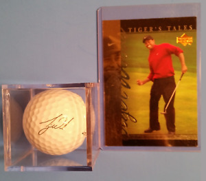 TIGER WOODS 1997  TIGER TALE MASTERS WIN CARD & SIGNATURE GOLF BALL UNIT