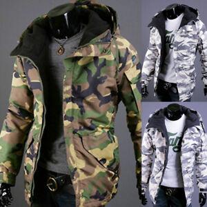 Herren Camouflage Daunenjacke Steppjacke Baumwoll Warm Wintermantel Kapuzenjacke