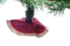 "Mini Miniature Christmas Tree Skirt Country Farm Burlap Red NEW 12"" Satin"