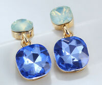 1 pair Elegant Blue Crystal Rhinestone  Ear Drop Dangle Stud long  Earrings 012