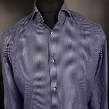 HUGO BOSS Mens Shirt 39 15.5 MEDIUM Long Sleeve Blue Slim Fit Striped Cotton