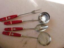4 Anciens Ustensiles de Cuisine Vintage manche bois rouge